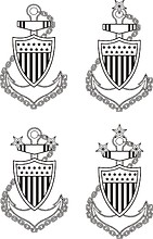 U.S. Coast Guard Petty Officer collar devices (black and white)
