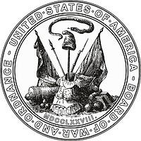 Векторный клипарт: Совет США по военным делам и боеприпасам, историческая печать (18й век)