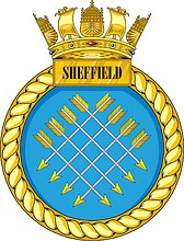 British Navy HMS Sheffield (D80), destroyer emblem (crest)
