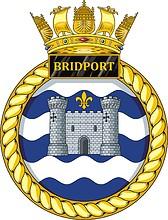 British Navy HMS Bridport (M105), emblem (crest) of mine counter measures vessel