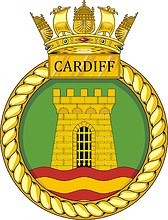 British Navy HMS Cardiff (D108), destroyer emblem (crest)