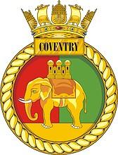British Navy HMS Coventry (D118), destroyer emblem (crest)