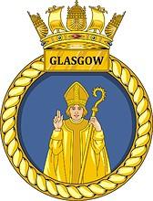 British Navy HMS Glasgow (D88), destroyer emblem (crest)