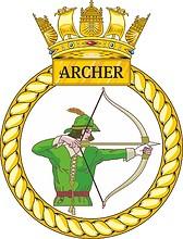 British Navy HMS Archer (P264), emblem (crest)