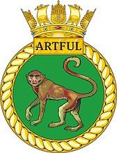 British Navy HMS Artful (S121), emblem (crest)
