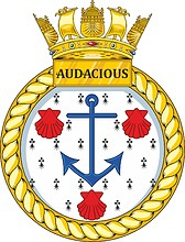 British Navy HMS Audacious (S122), emblem (crest)