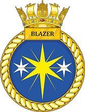 British Navy HMS Blazer (P279), emblem (crest)