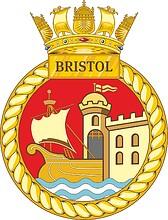 British Navy HMS Bristol (D23), emblem (crest)