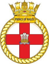 British Navy HMS Prince of Wales (R09), aircraft carrier crest