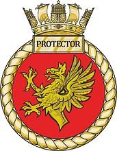 British Navy HMS Protector (A173), emblem