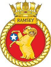 British Navy HMS Ramsey (M110), minehunter emblem (crest)