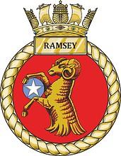 British Navy HMS Ramsey (M110), minehunter emblem (crest, #2)