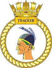 British Navy HMS Tracker (P274), emblem (crest)