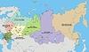Karte von Russland (die föderalen Bezirken, 2008)