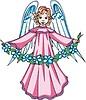 Vektor Cliparts: Engelchen Mädchen mit Blumenkranz