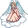 Vektor Cliparts: Engelchen Mädchen sitzt auf Wolke