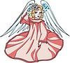 Vektor Cliparts: nettes junge Engelchen Mädchen