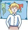 Vektor Cliparts: Schüler und geografische Karte