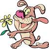 glücklicher Hund mit einer Blume