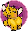 Vector clipart: yellow elephant calf