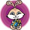 Kaninchen mit Geschenk