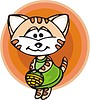 Vector clipart: cat with basket