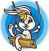 Vector clipart: rabbit on swing cartoon