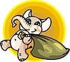 Vector clipart: elephant with bag of money