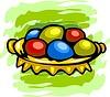 Vektor Cliparts: Ostern Platte mit Eiern