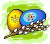 Vektor Cliparts: Ostereier und Weidenkätzchen