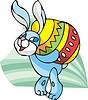 Vektor Cliparts: Osterhase trägt großes Ei