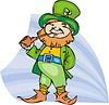 Vector clipart: Leprechaun smokes a tobacco pipe