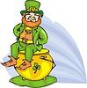 Vektor Cliparts: Leprechaun sitzt auf einem goldenen Topf