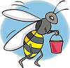 Vector clipart: bee holds a bucket with honey