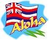 Aloha mit Flagge von Hawaii