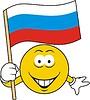 Smiley mit russischer Flagge