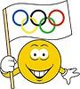 Smilie mit der olympischen Flagge
