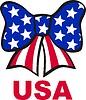 Schleife gebildet von Bänder mit Farben der US-Flagge