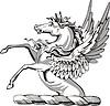 Helmkleinod mit geflügelten Pferd
