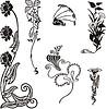 einfache florale Ornamente im Jugendstil