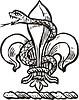 Wappen mit Schlange und Fleur-de-lis