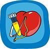 Herz, Bogen und Köcher mit Pfeilen