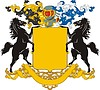 Wappenschild mit Pferden-Schildhaltern