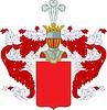 Russischer edler Wappenschild mit Helm und Helmdecke