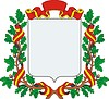 Wappenschild mit Band und Kranz aus Eichenblättern