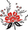 slavic red & black flower pattern