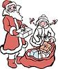 Дед Мороз и снегурочка разбирают подраки