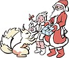 Дед Мороз и Снегурочка с подарком для белочки