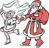 Дед Мороз и Снегурочка на коньках