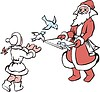 Дед Мороз и Снегурочка с кормушкой для птиц